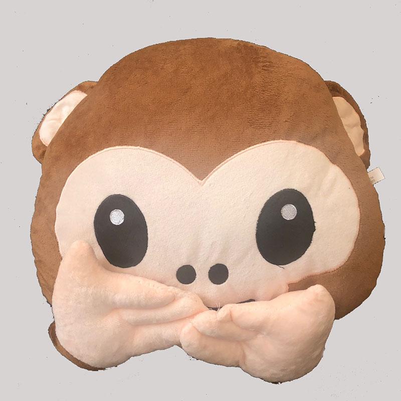Emoji Monkey Speak no Evil Cushion