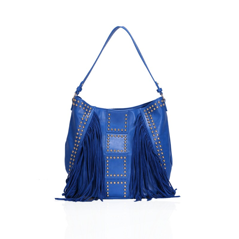 Gessy Fringe and Stud Design Handbag