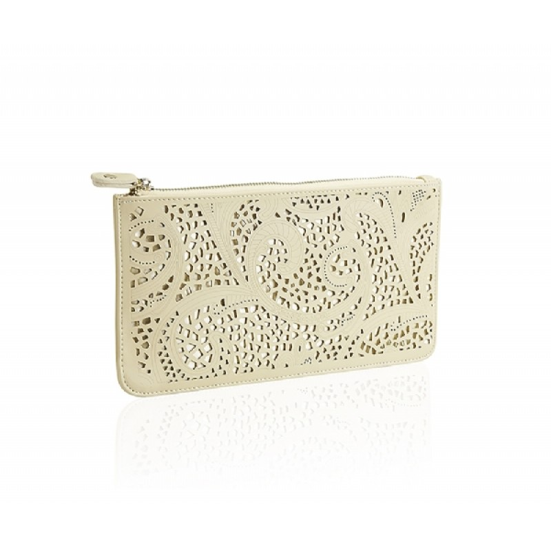 Cream Cut work Clutch bag