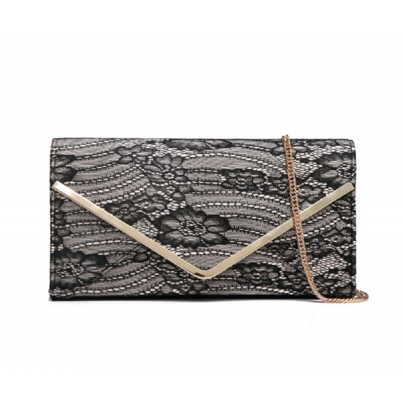 Black and Nude Lace Clutch bag