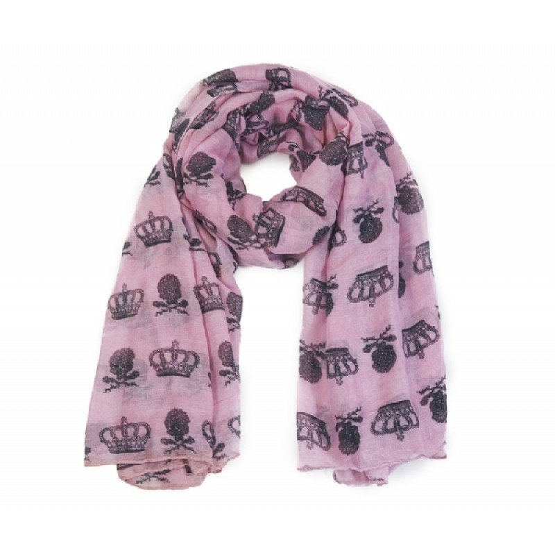Light Purple Crown and Skulls Print Scarf