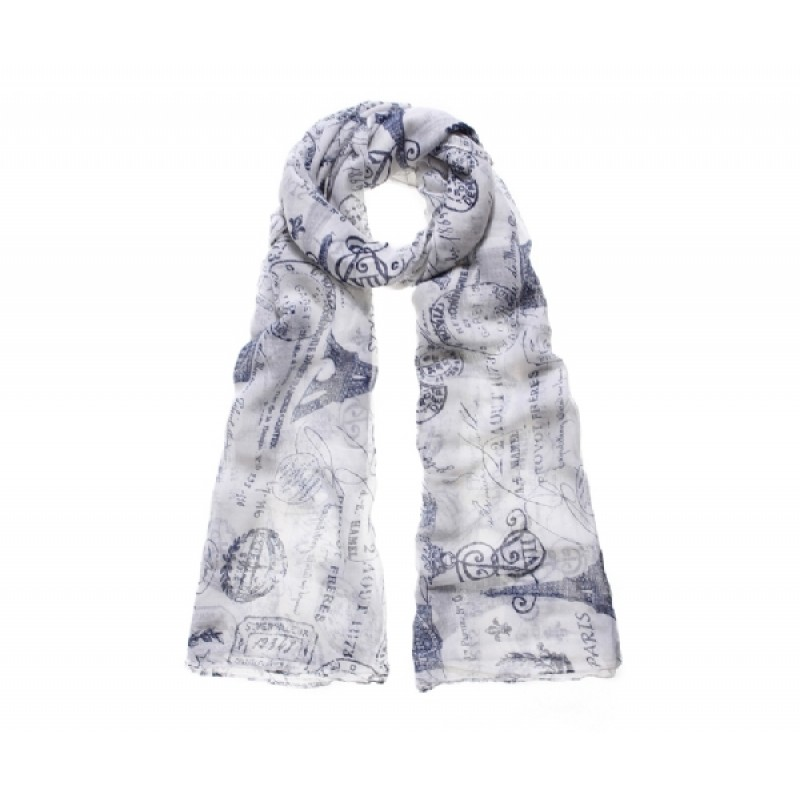 Blue Paris Print Long Scarf
