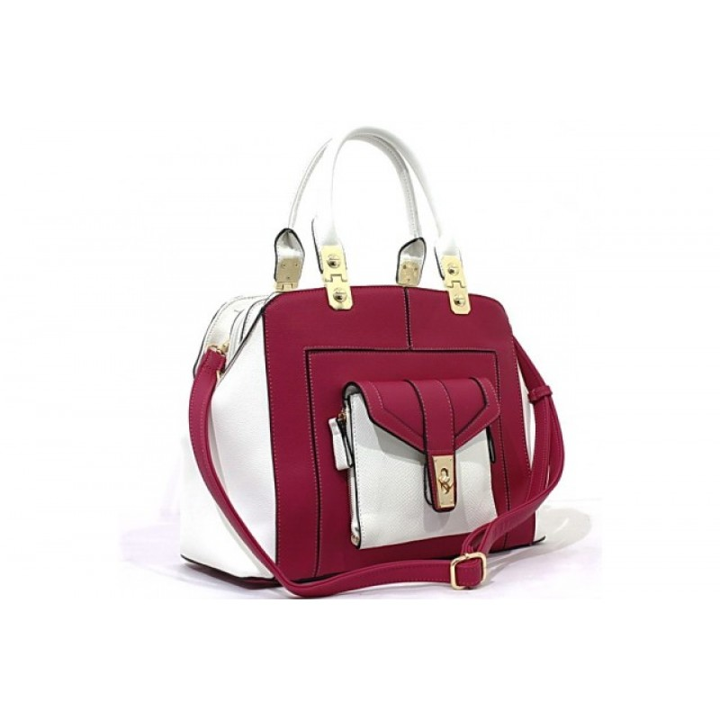 Bessie London Designer Plum and White Handbag