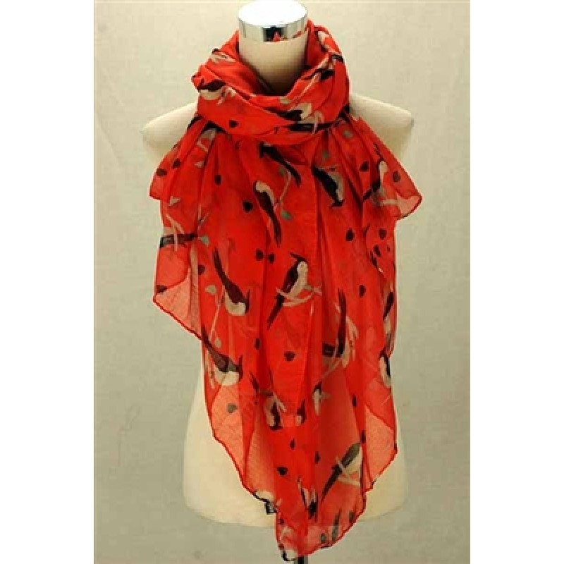 Parrots in Love Print Scarf
