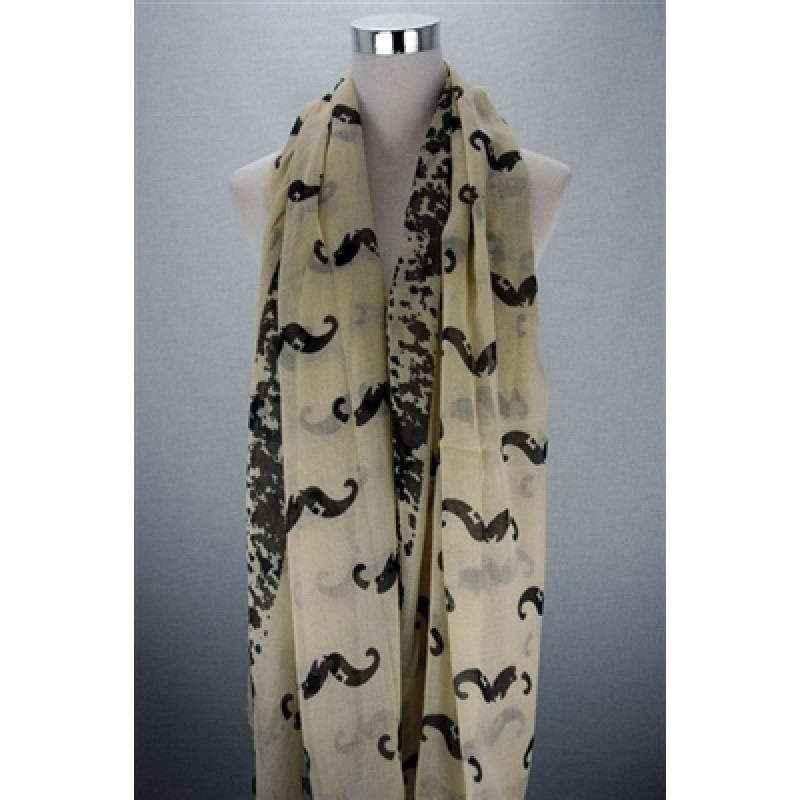 French Moustaches Print Scarf