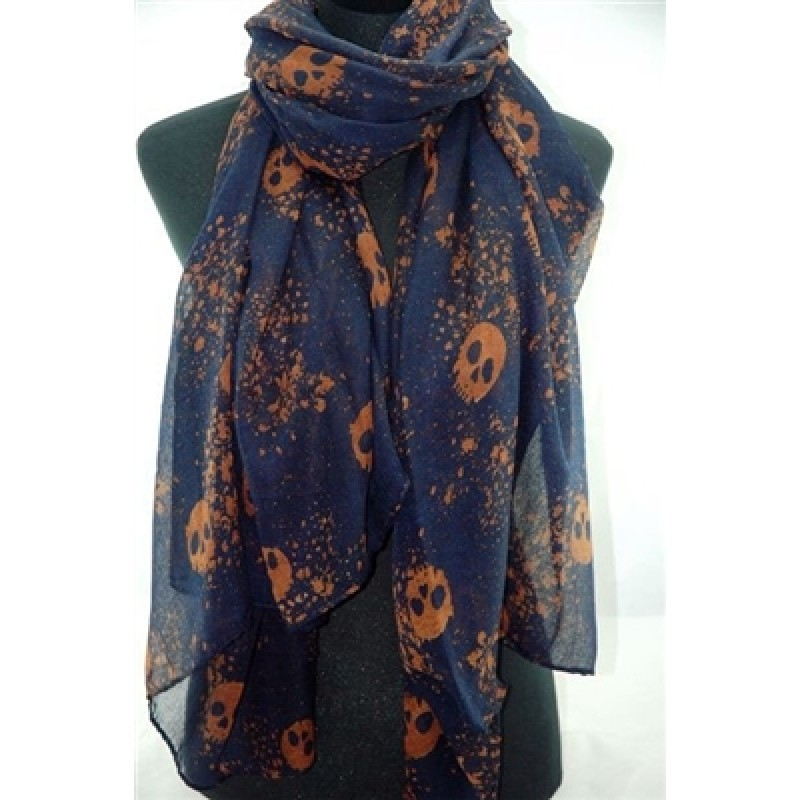 Navy Blue Pretty Skull Print Scarf