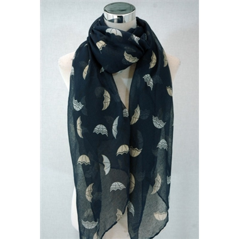 Navy Blue Umbrella Print Scarf