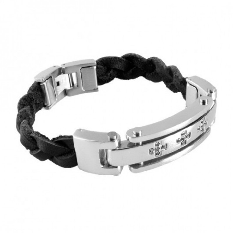 INSPIRIT Men's Leather and Stainless Steel Bracele...