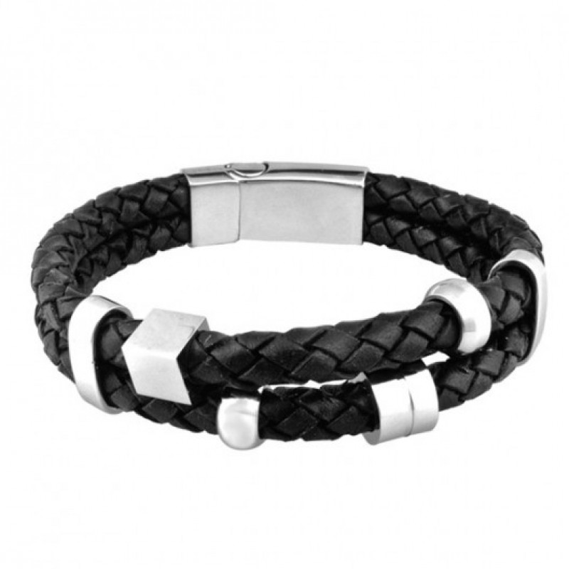 INSPIRIT Men's Double Plaited Leather and Stainles...