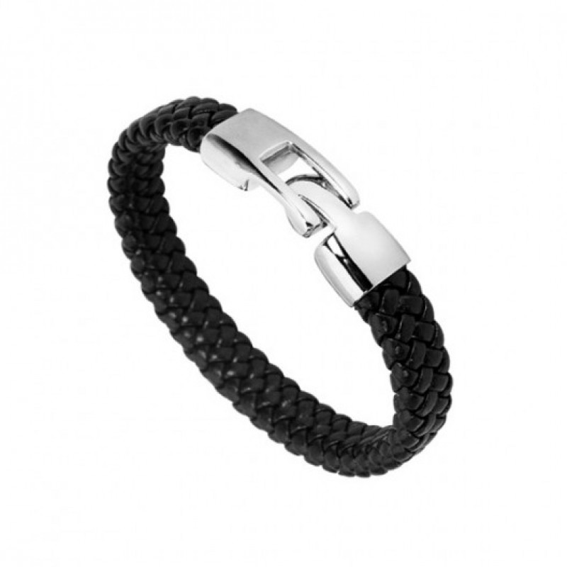 INSPIRIT Men's Plaited Leather and Stainless Steel...