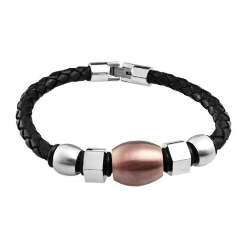 INSPIRIT Men's Leather and Stainless Steel Beaded ...