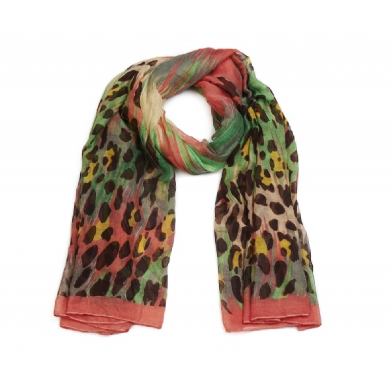 Multi-coloured Animal Print Long Scarf
