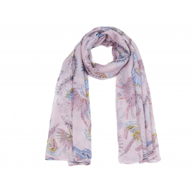 Lilac Bird Print Long Scarf