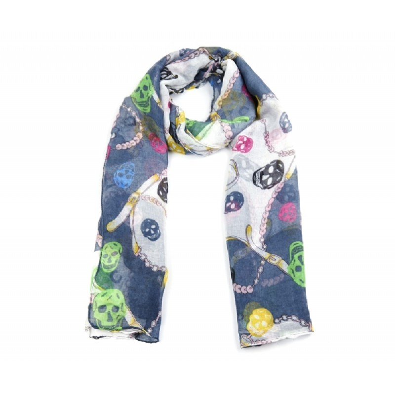 Blue Skull Print Long Scarf