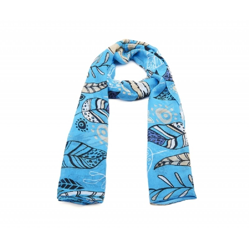 Blue Leaf  Print Long Scarf