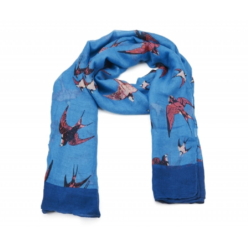 Blue Swallow  Print Long Scarf