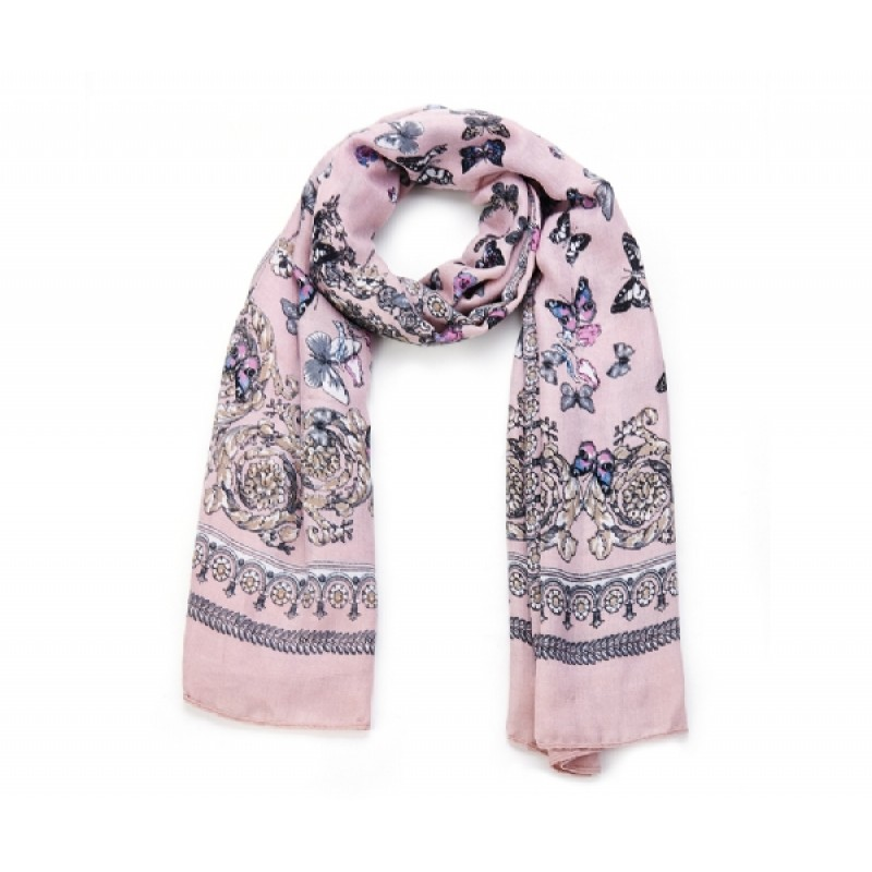 Pink Cotton mix Butterfly Scarf
