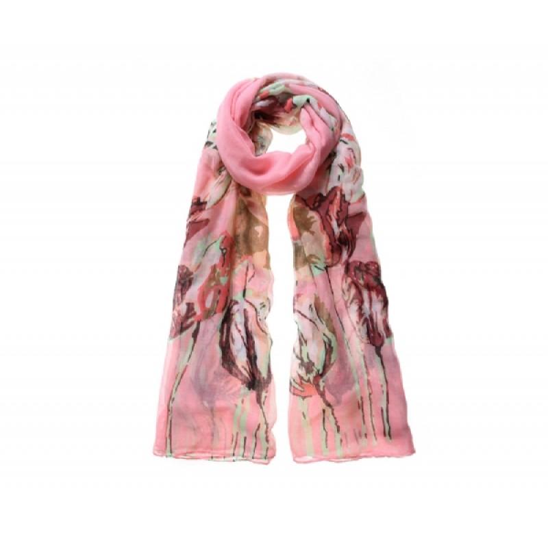 Pink Meadow Print Scarf