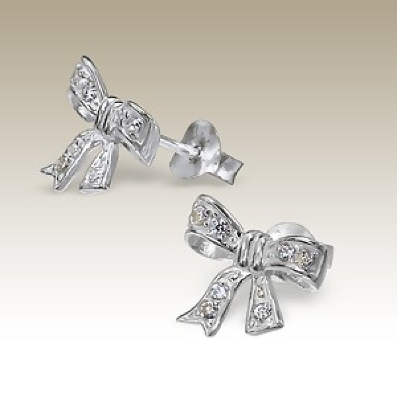 Kids Cubic Zirconia Ribbon Stud Earrings