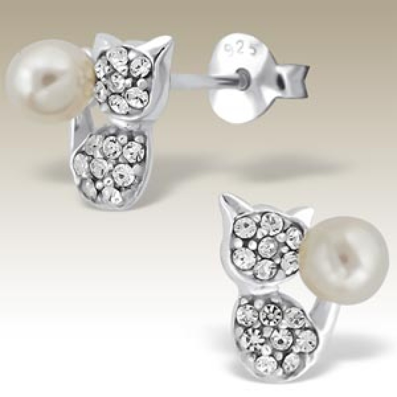 Kids Crystal and Pearl Cat Earrings