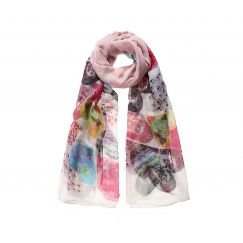 Cream Floral Heart Long Scarf