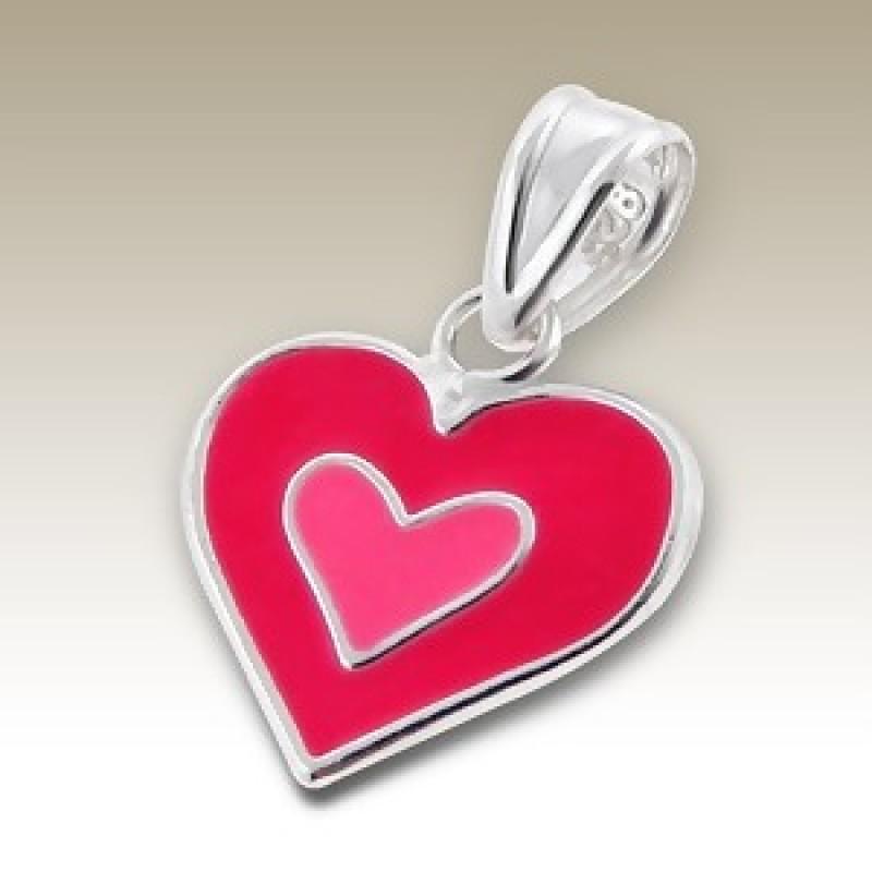 Kids Silver Pink Double Heart Pendant
