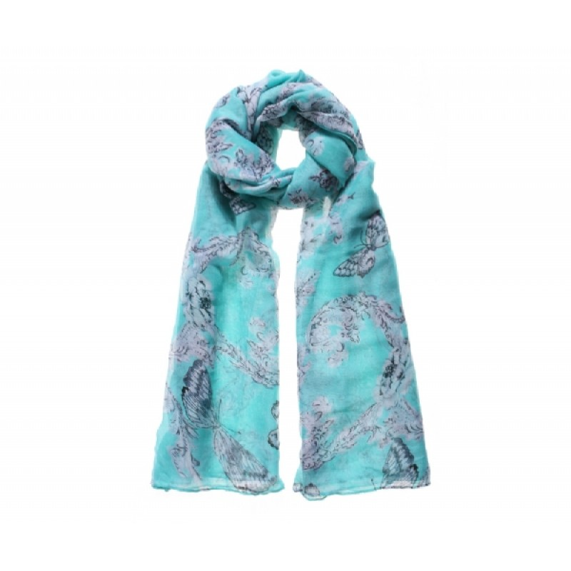 Green Damask and Butterfly Long Scarf