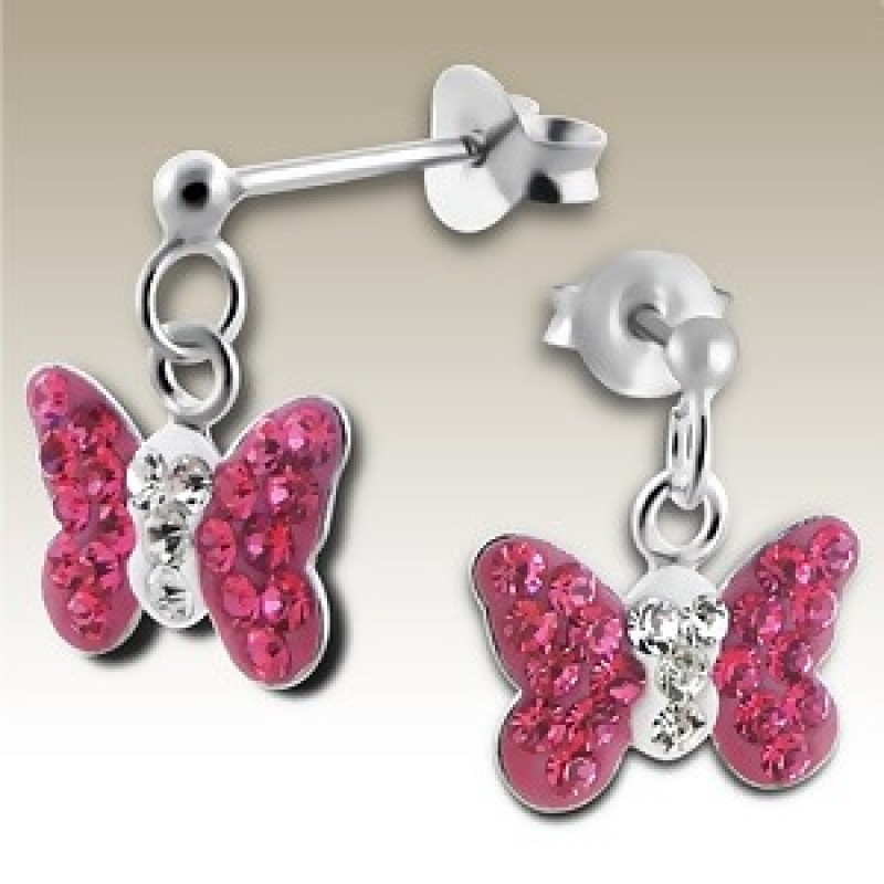 Kids  Butterfly Crystal Drop Earrings