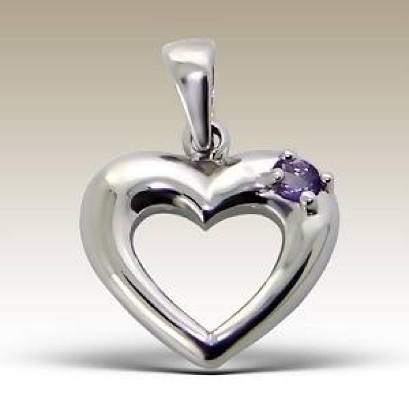 Kids Silver Semi Precious Heart Pendant
