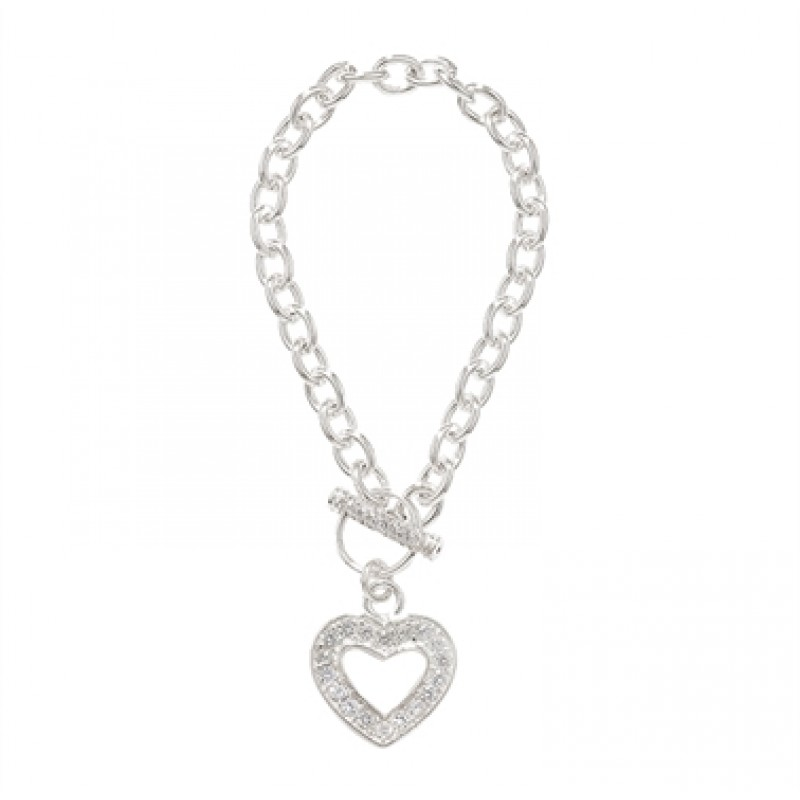 Sterling Silver T Bar Bracelet with CZ Heart Charm