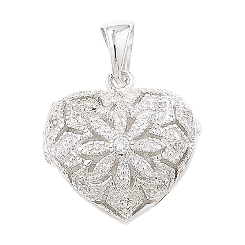 Sterling Silver Cubic Zirconia  Heart Locket with ...
