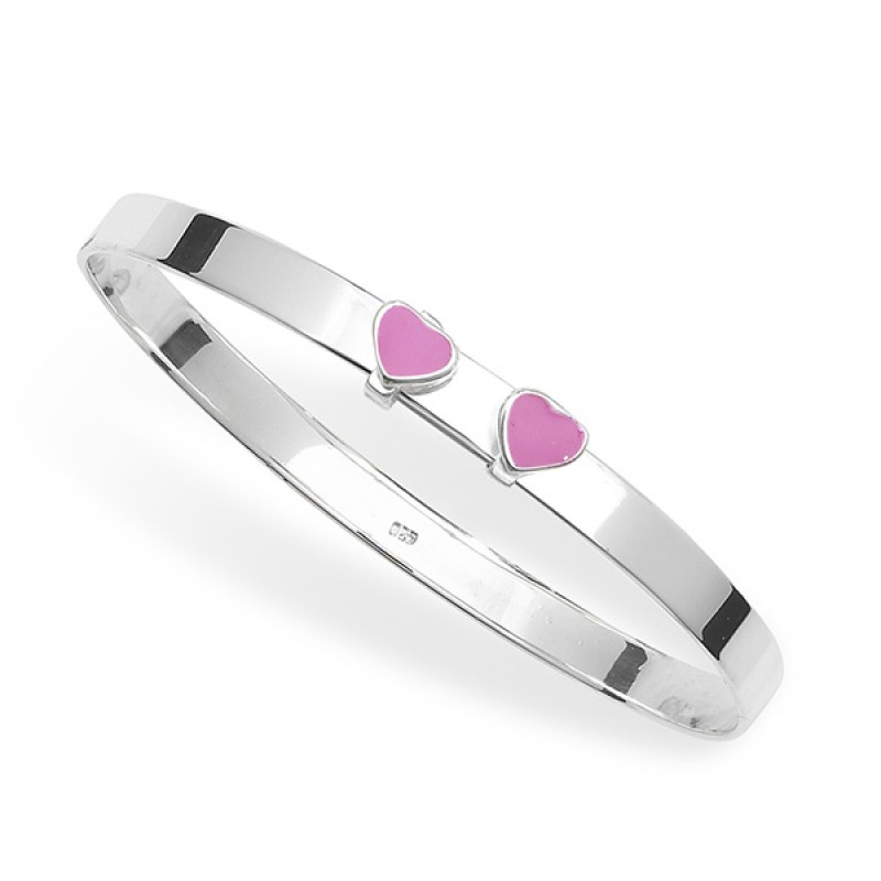 Kids Heart Sterling Silver Bangle and Earring Set