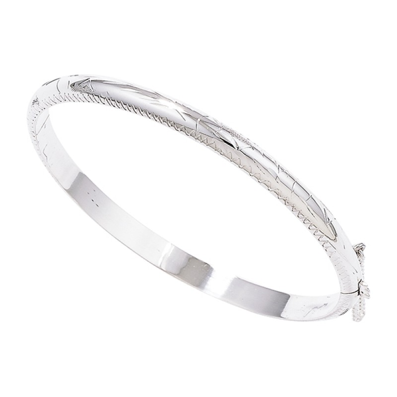 Sterling Silver 5mm Engraved Bangle