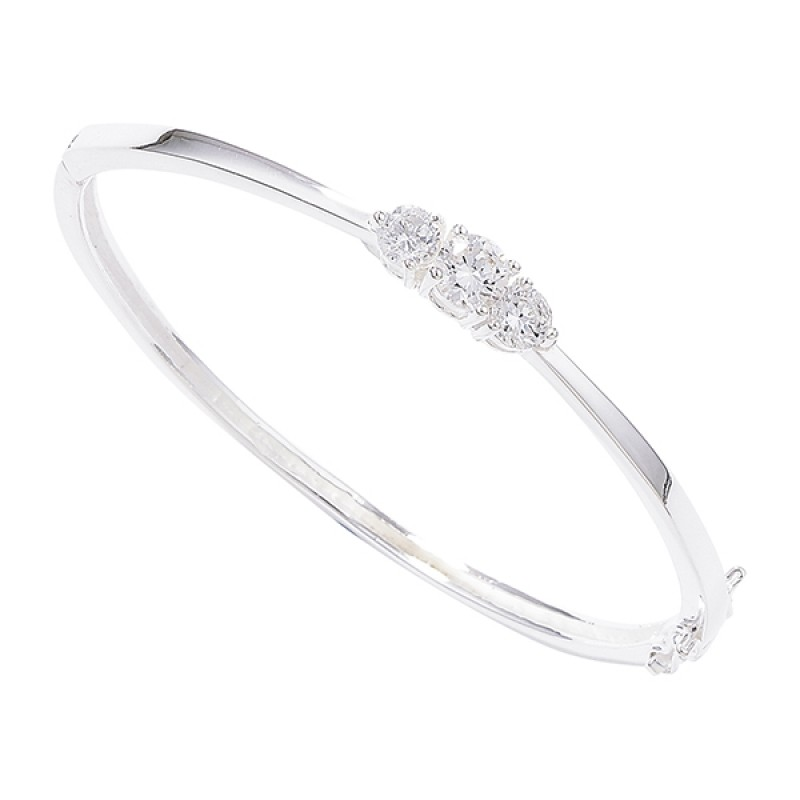 Sterling Silver Bangle with 3 Cubic Zirconia Stone...