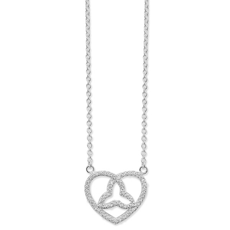Sterling Silver Cubic Zirconia Celtic Heart Necklace