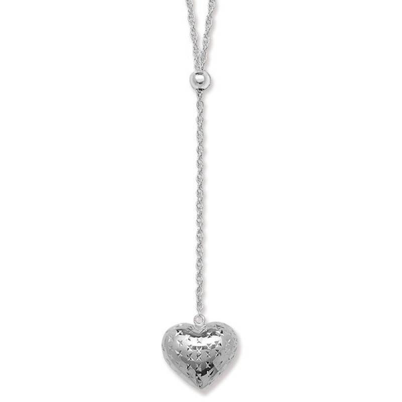 18 Inch Necklace with a Drop Heart
