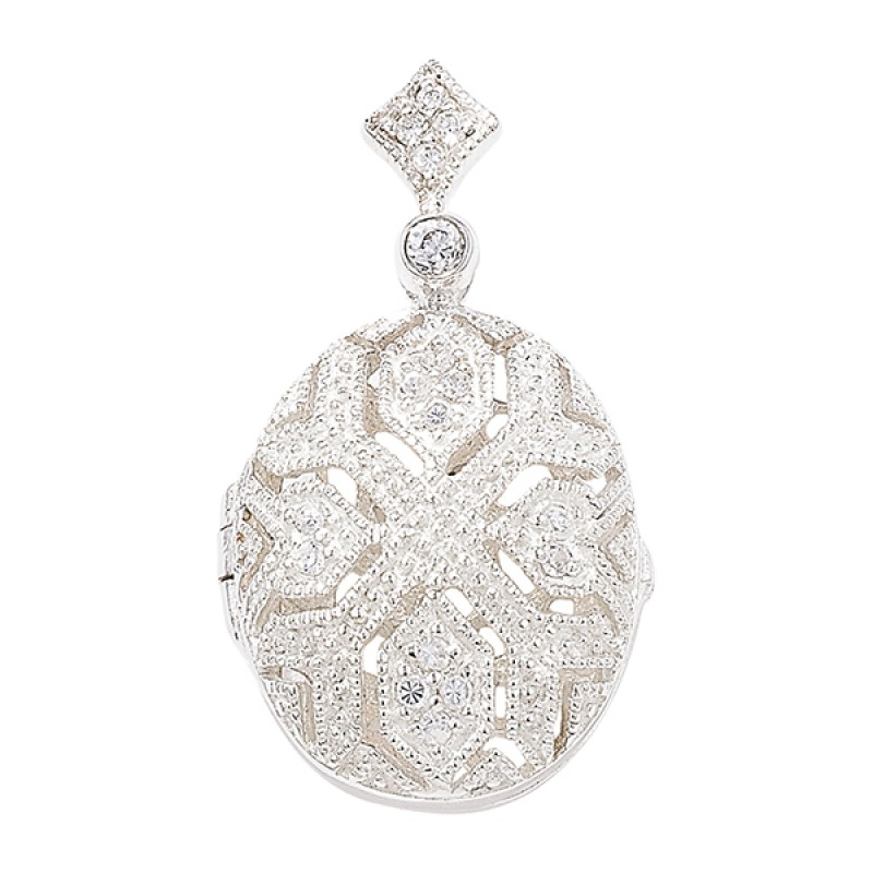 Sterling Silver Oval Cubic Zirconia  Locket with Chain