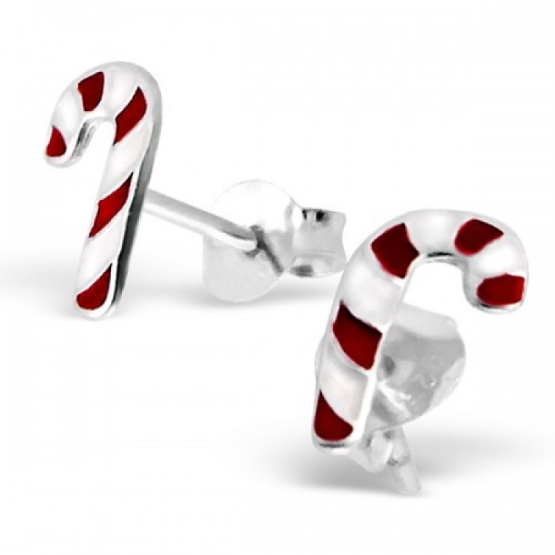Kids Candy Cane Stud Earrings