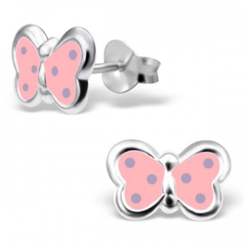 Kids Silver Spotty Butterfly Earrings