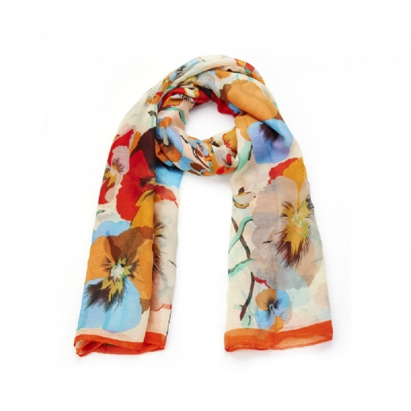 Cream Poppy Print Long Scarf