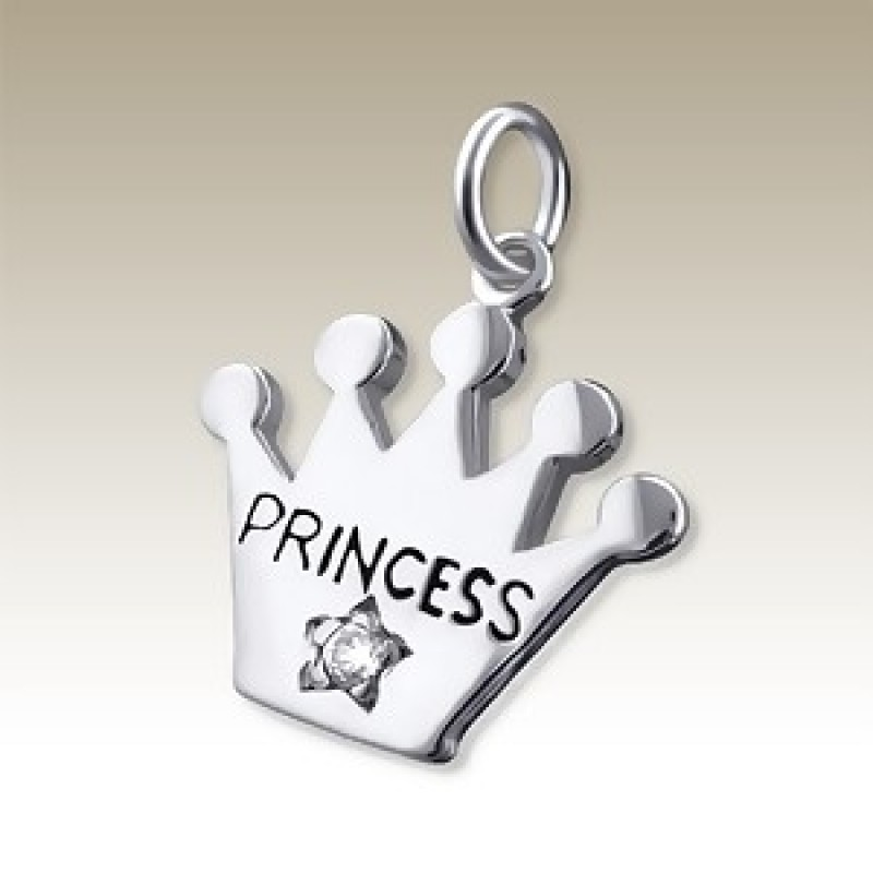 Kids Diamond Silver Princess Crown Pendant