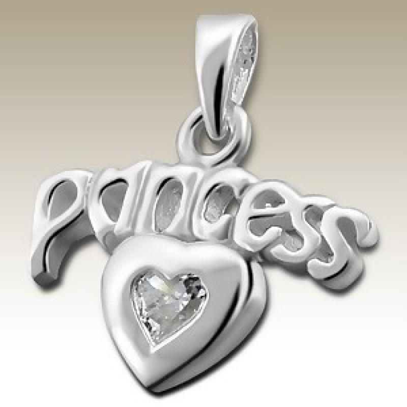Kids Silver Princess Heart Pendant