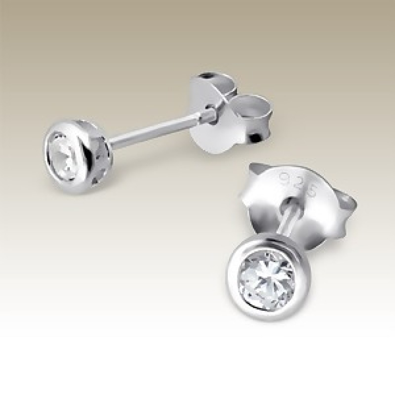 Kids 3mm Silver CZ Stud Earrings