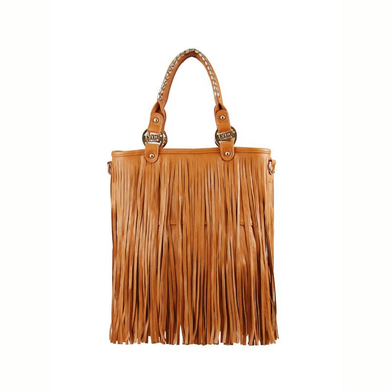 LYDC Tan Fringe Handbag