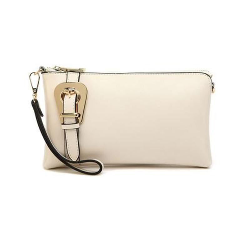 Peach  Leather Cream Handbag