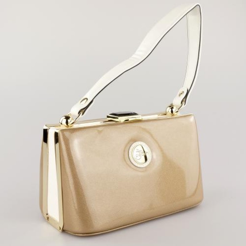 Peach Designer Gold/Cream Handbag