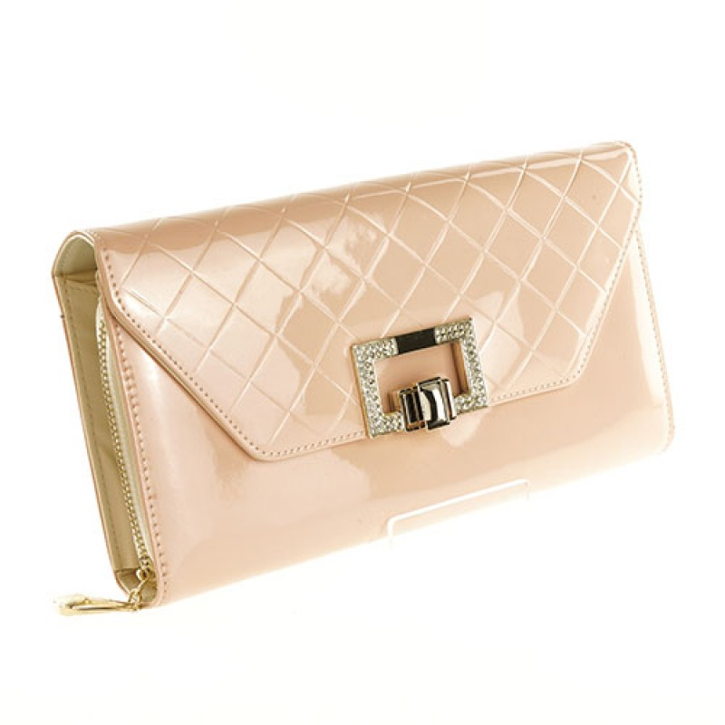 Peach Designer Nude Leather Clutch bag
