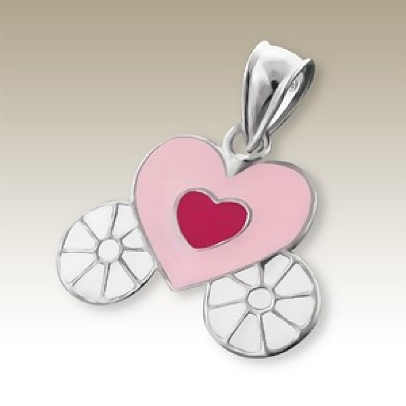 Kids Silver Heart Carriage Pendant
