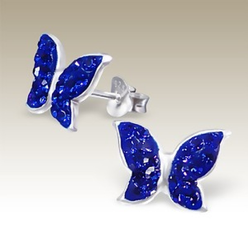 Kids Crystal Butterfly Earrings