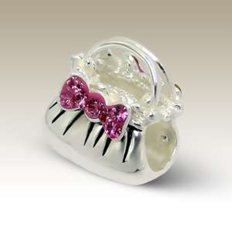 Sterling Silver Crystal Handbag Bead